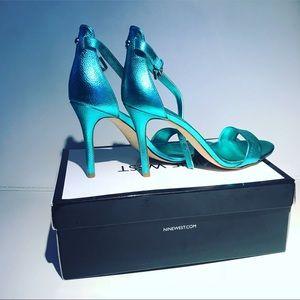 Nine West Mana Metalic Turquoise Open Toe Sandals